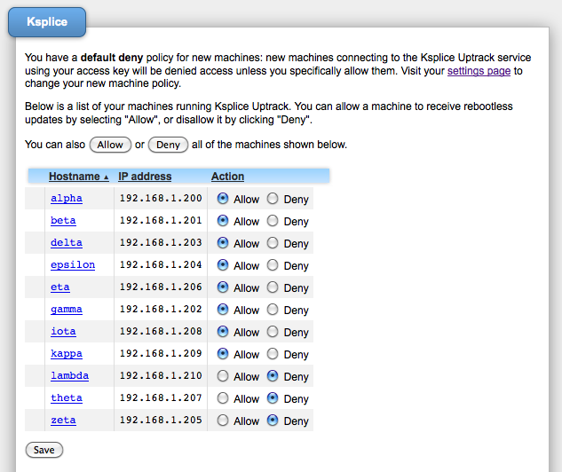 Ksplice Uptrack screenshot: Access policies