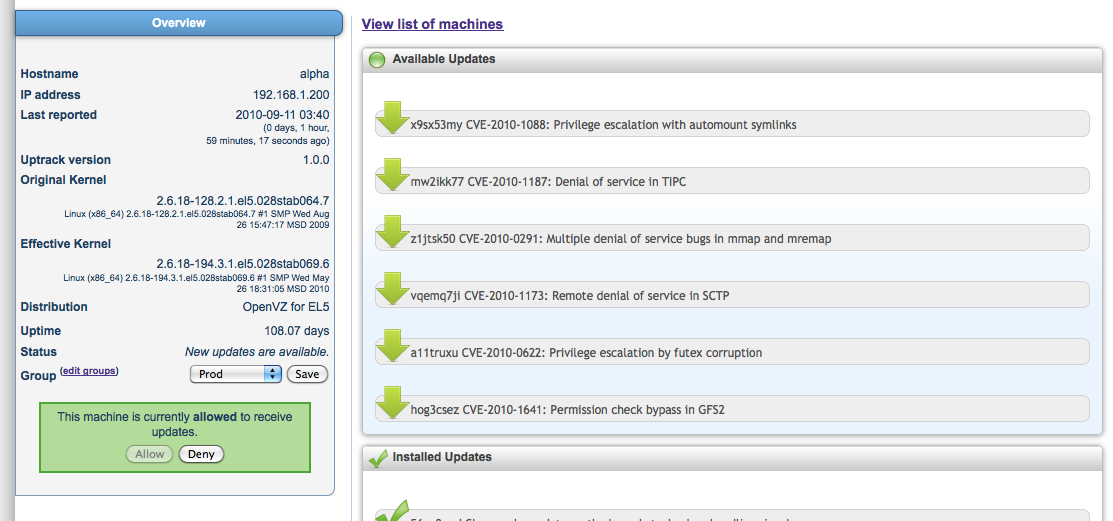 Ksplice Uptrack screenshot: Machine detail