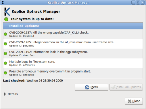 Ksplice Uptrack screenshot: your system is up to date