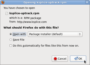 Screenshot: downloading ksplice-uptrack.rpm